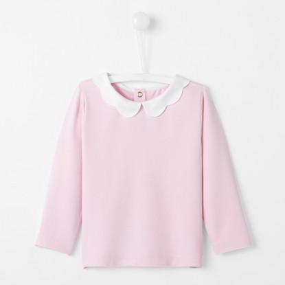 T-shirt bébé fille à col festonné