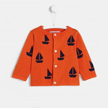 Cardigan bébé garçon motif bateau
