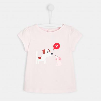 T-shirt bébé fille imprimé chien