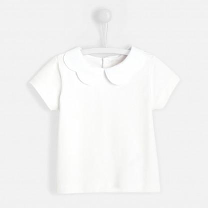 T-shirt bébé fille col festonné