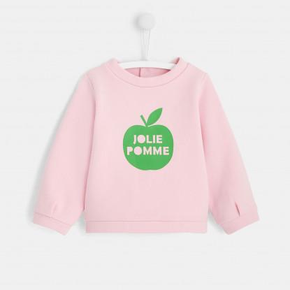 Sweat bébé fille motif pomme