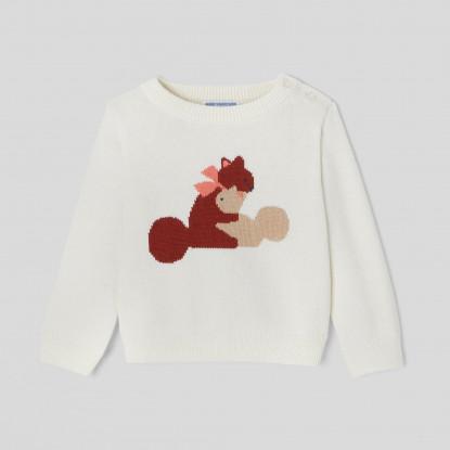 Pull bébé fille Intarsia écureuils